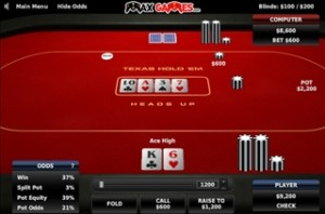 Poker head's up Texas Hold'em