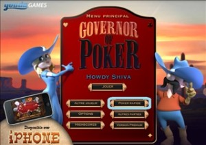 Menu du jeu rapide de Governor of Poker